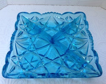 Turquoise Glass Divided Tray