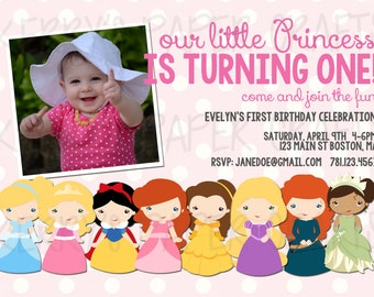 Princess Party Digital printable invitation with or without photo pic