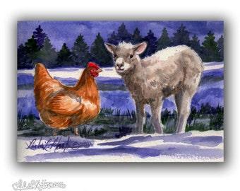 Red Hen Sheep Lamb Warm Winter Flurries LLMartin Original Watercolor Painting- Virginia Country