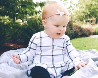 Mini Bow Headband, Baby Headband, Nylon Headband, Cream Nylon Headband, Baby Girl Accessory, Small Cream Bow, Baby Photo Prop, Knot Headband