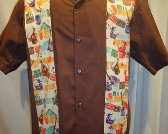 Mexican Panel Shirt with Mariachi, Dancers, and Cinco de Mayo, Made to Order Men's Small up to 6XL
