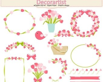 ON SALE tulip clip art,Tulips garden clip art, flowers clip art, flowers frame clip art, INSTANT Download