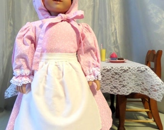 18 Inch Doll Clothes / Doll Dress, Bonnet And Apron / Doll Outfit / Doll Clothes / Doll Clothing / Fits American Girl Doll - 1007