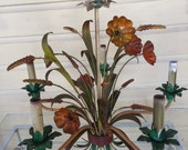 5 light tole chandelier flowers and wheat