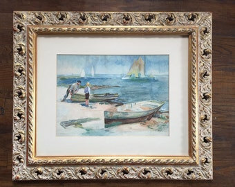 Antique 1915 watercolor painting of the shore