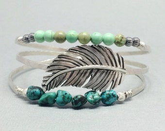 Western Bangle Set, Sterling Silver Bangle Bracelet, Turquoise Bangle, Western turquoise Jewelry, Boho bangle, feather jewelry