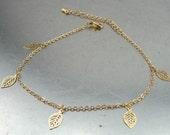 Gold Leg Bracelet, Leg Bracelet, Leaf, Handcrafted Yellow Gold Filled leg Bracelet, Romantic gift