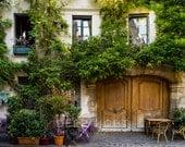 Paris Bistro Photograph Outdoor cafe Photo Paris Restaurant Paris Street scene Decor Flowers Neutral Wall Art par164