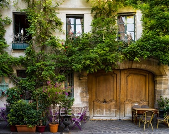 Paris Bistro Photograph Outdoor cafe Photo Paris Restaurant Paris Street scene Decor Flowers Neutral Wall Art par164