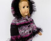18 Inch Doll Sweater, Pink and Black Doll Sweater, Fuzzy Doll Sweater, Doll Clothes