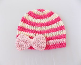 Baby Girl Hat with Bow, Pink Striped Baby Hat, Knit Baby Beanie, Winter Hat