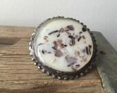 Boho fused glass statement gypsy ring- vanilla