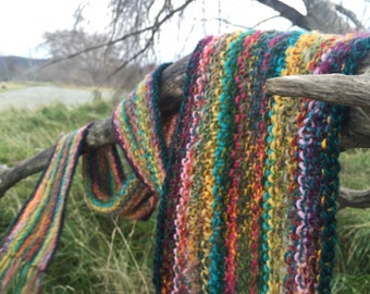 Bright Random Rainbow Multicolor Wool Scarf