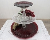 3-Tier Dessert Stand made from Vintage Ruby Red and Clear Pressed Glass