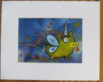 Pigicorn Matted Print of Painting by Kelly Green H-Baum Pigs Fly Pig Unicorn Yellow Blue