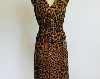 60s cotton LEOPARD print shift dress size medium
