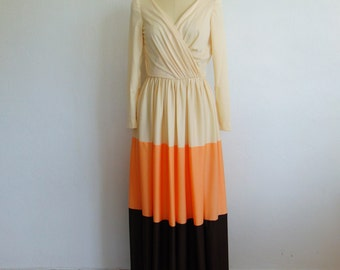 70s Adde of California COLOR BLOCKED gown size small
