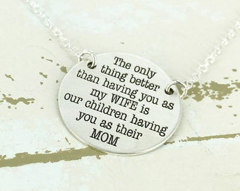 Silver personalized mother necklace - The only thing better wife necklace - Silver mom necklace - mother necklace - sterling silver necklace