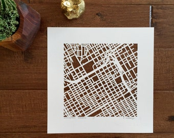birmingham or mobile hand cut map, 10x10