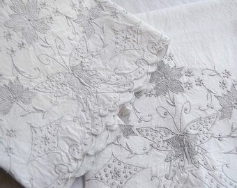 Vintage Madeira Pillowcases - Hand Embroidered Silver Grey Butterflies and Flowers - Standard Size Pair