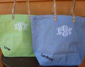Personalize Burlap Jute Tote Bag Weekender Bag Bridesmaid Gifts Monogram