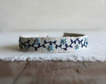 Floral Boho Cuff Bracelet - Turquoise and Navy Blue Floral Boho Bracelet