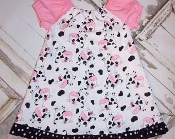 Daisy the Cow Ruffled Peasant Dress 2T 3T 4T 5 6 7 8 10 Made in Usa Handmade That's So Addie Farm Barnyard Birthday Party