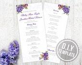 DIY Custom Wedding Program for Garden Wedding - Vintage Antique Floral and Lace Customized Printable PDF