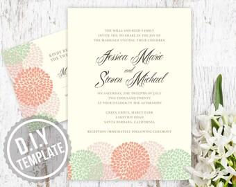 DIY Custom Wedding Invitation and Response Card- Modern Dandelion Blossom Design Customized Printable PDF