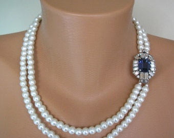 Sapphire Necklace, Pearl Necklace, Great Gatsby Jewelry, Statement Necklace, Pearl Choker, Wedding Necklace, Bridal Jewelry, Art Deco, Blue