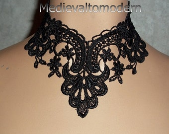 Hand Made Jet Black Wide Medieval Lace Victorian Style Choker