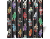 Novelty Robot Shower Curtain - photographic vintage tin robot reproductions - shower curtain for kids
