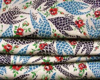 Vintage  Feedsack Flour Sack Cotton Floral  Fabric - UNCUT- StillASack* Blue, Black & Red Roses * 5  available