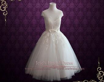 Retro Tea Length Ivory Lace Wedding Dress Formal Dress | 50s 60s Wedding Dress | Short Wedding Dress | Country Wedding Dress | Rosalie