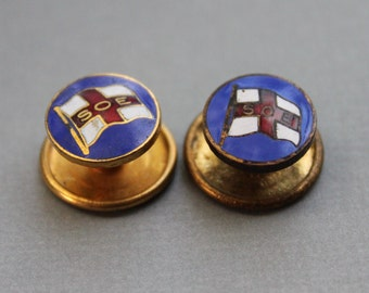 RARE WW2 British S.O.E. Royal Yacht Squadron Enamel Badge / Secret Service / SOE Flag Hat Pin Lot