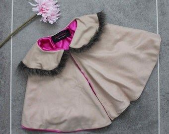 Cute Little Girl Toddler Child's Wool Fur Collar Cape Capelet Poncho Baby Jacket Baby Cape in Brown and Hot Pink Fuchsia