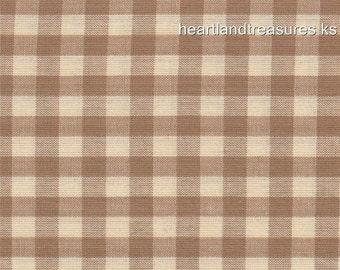 Dunroven House H-82 Homespun Wheat & Cream Checked Fabric    1/2 Yard Cut Off The Bolt