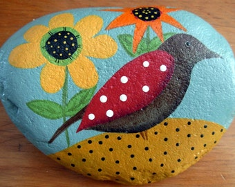 Folk Art Bird and Flower Stone| River Stone|Garden/Fall Decor