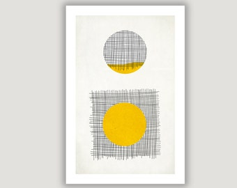 Yellow Circle, Geometric Print, abstract art, geometric wall art, abstract poster, minimalist art, mid century modern, yellow black decor