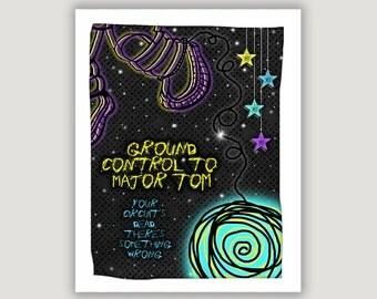 Major Tom, music lyric print, David Bowie, Space Oddity, 60s music poster, Bowie wall art, dorm art, man cave art, rock music art, space art