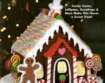 Crochet Gingerbread House Snowy Roof Peppermint Column Lollipop Tree Lemon Drop Window Gum Drop Tile Smokey Chimney Craft Pattern Leaflet