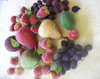 SALE Lot of 33 Beaded Sparkly Artificial Fruit Home Decor Supplies Was 26.00