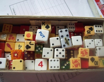 Over 75 Vintage Dice Some Wood Others Plastic Possibly Bakelite