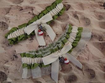 Fishing Olive Green Linen Ivory Twill Ivory Organza Fish Bobber Charm Wedding Bridal Garter Toss Set