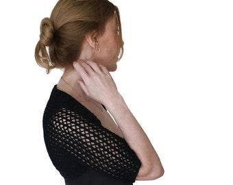 Black Lace Shrug Annie Bolero Extra Fine Merino Wool XS S M L