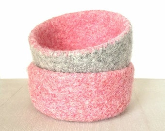 Felt Bowls Set Of 2 Felted Blossom Pink Gray Valentine Knitted Baskets Containers Soft Storage Desk Organizer Ring Dish