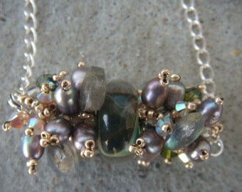 Handmade Borosilicate glass Necklace, With Freshwater pearls, Labradorite, Swarovski Crystals and MORE!