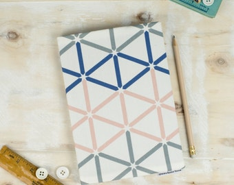 A5 Kenza Sketchbook, notebook with blue, pink and grey hexagon geometric pattern design on a white background, journal for painting, drawing