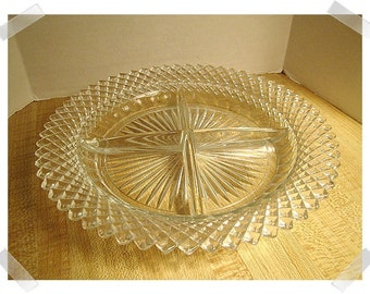 Pressed Glass Condiment Dish with Diamond shape Rim/ Vintage*