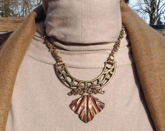 Copper Fold-formed Leaf on Brass Necklace by Antonette Cely